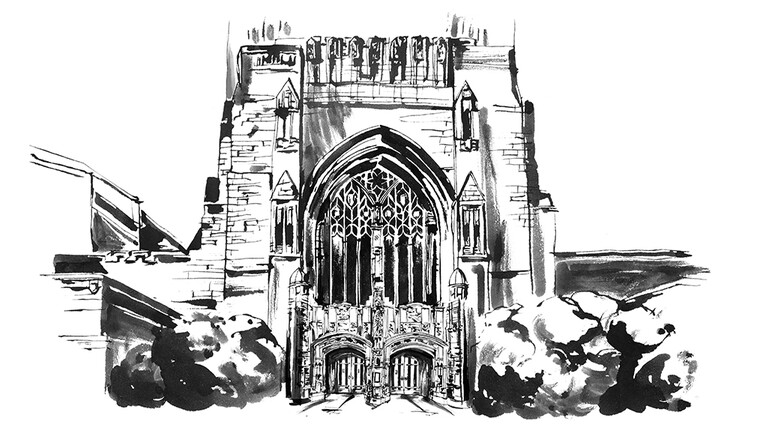 Illustration of Sterling Memorial Library