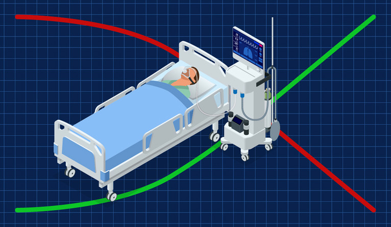 Man in hospital bed with ventilator