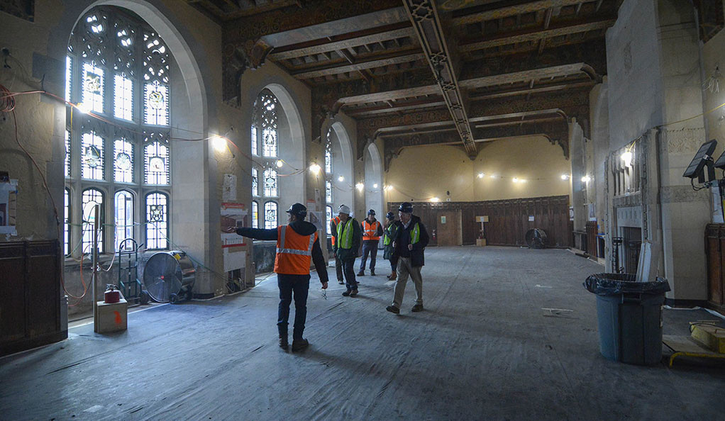 Renovations underway in the common room of the former Hall of Graduate Studies at 320 York Street