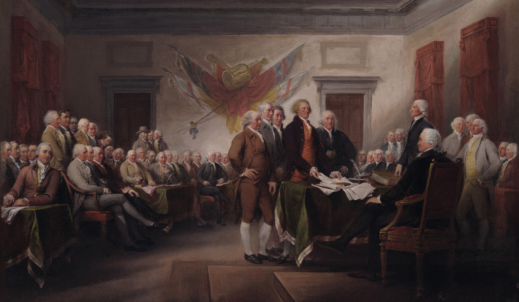 """John Trumbull, """"The Declaration of Independence, July 4, 1776,"""" ca. 1786"""
