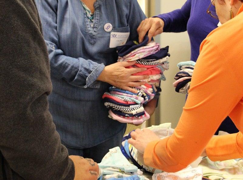 Volunteers at Yale School of Nursing's Newborns in Need event.