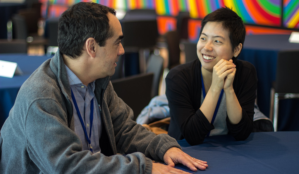 Hugo Faria '86 and Angela Choi '12 at the 2018 1stGenYale Conference.