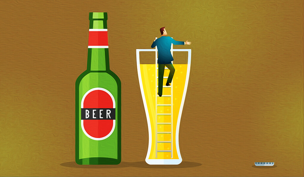 Man escaping from a glass of beer