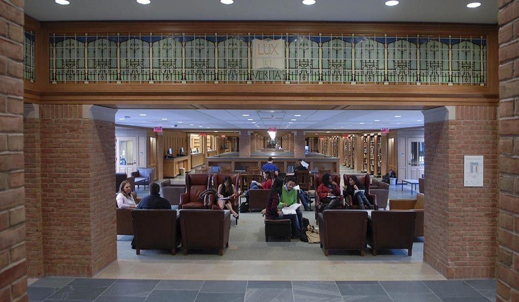 Students in Bass Library.