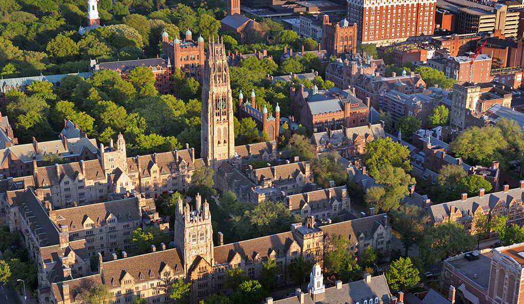 An aerial view of the Yale University campus.