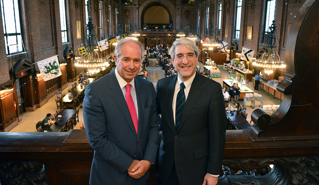 Stephen A. Schwarzman and Yale President Peter Salovey at the University Commons Dining Hall.