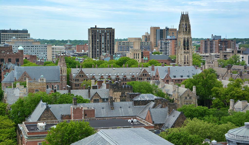 An aerial view of central Yale campus