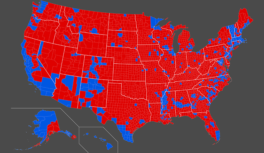 A map of the 2016 presidential election results by county