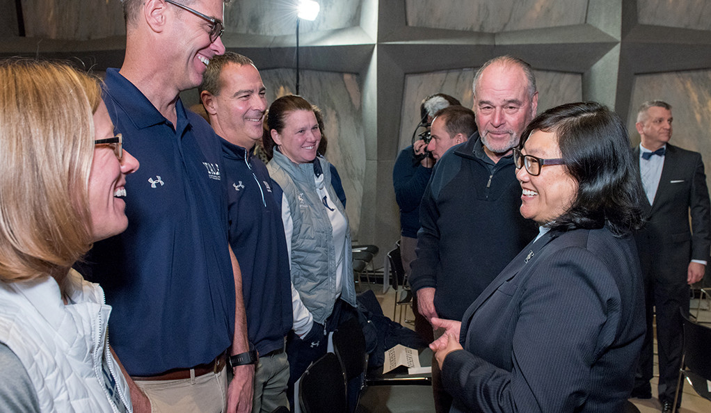 Vicky M. Chun greets members of the Yale Athletics community after being announced as director.