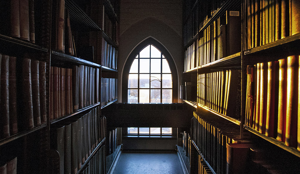 A window in a library at Yale