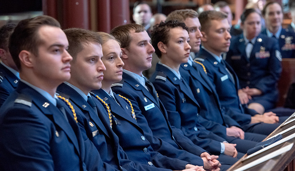 A scene from the 2018 Veterans Day ceremony in Battell Chapel