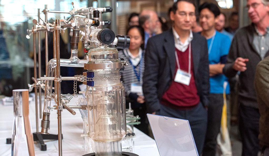 An exhibit from the Yale Glass Shop/Yale Scientific Glassblowing Lab on display during the Yale Day of Instrumentation.