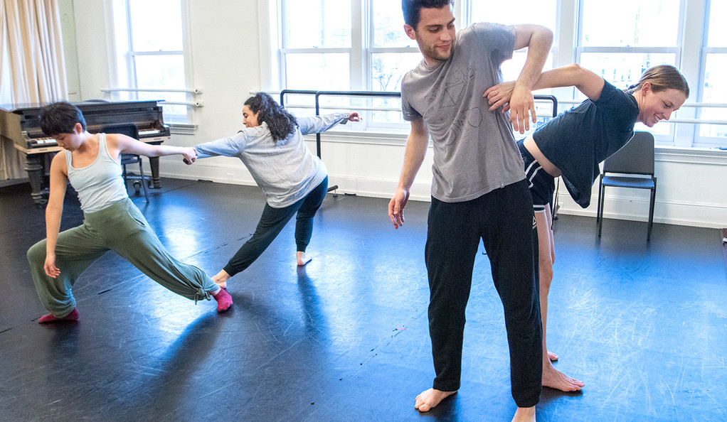 """Student members of the Yale Dance Theater rehearse """"D-Man in the Waters"""""""
