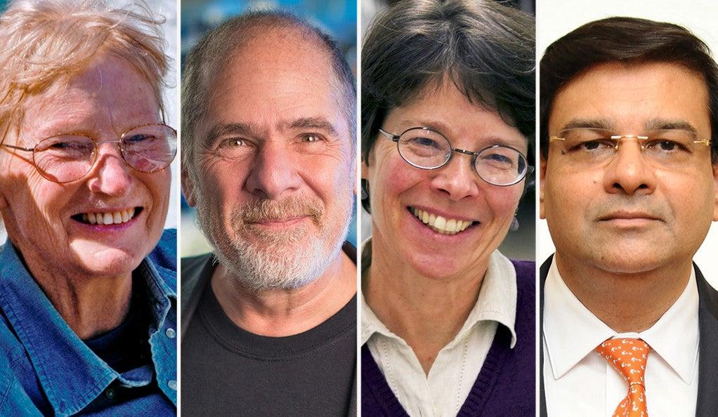 Ruth Garrett Millikan '69 Ph.D.; Douglas R. Green '77 B.S., '81 Ph.D.; Susan M. Kidwell '82 Ph.D.; and Urjit Ravindra Patel '90