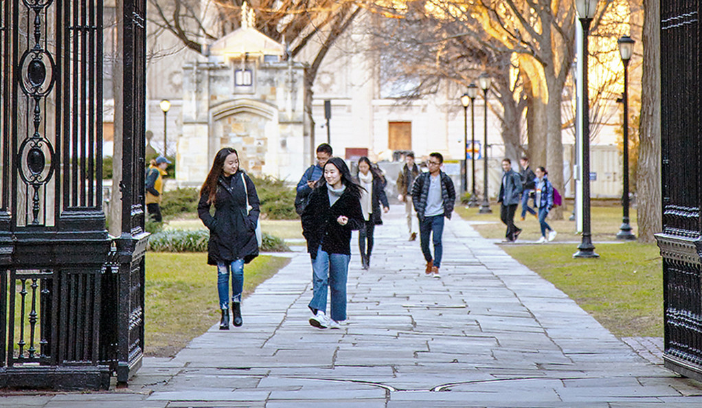 Students on Yale campus