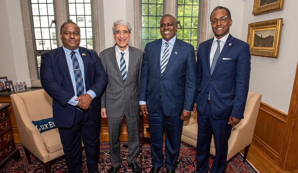 Kefentse Mzwinila '99 M.A., Peter Salovey, President Mokgweetsi Masisi, Eddie Mandhry at Yale.