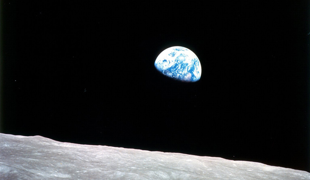 A photo of the Earth taken from the moon.