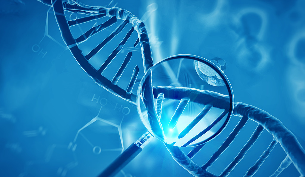 3D render of DNA structure and cells, abstract background