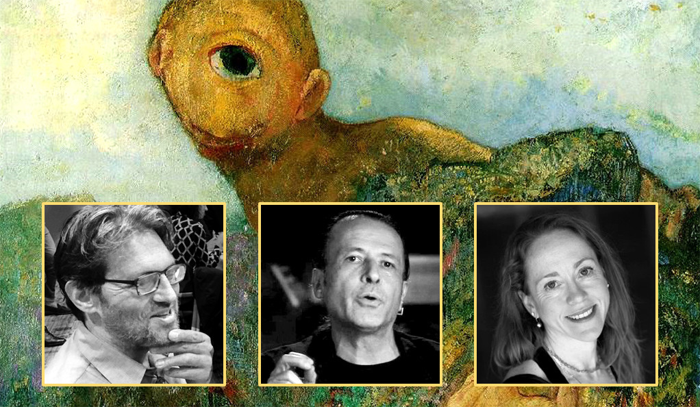 "Photos of Jacquez Lezra, Manuel DeLanda, and Claire Colebrook superimposed on an image of Odilon Redon's painting ""The Cyclops"""