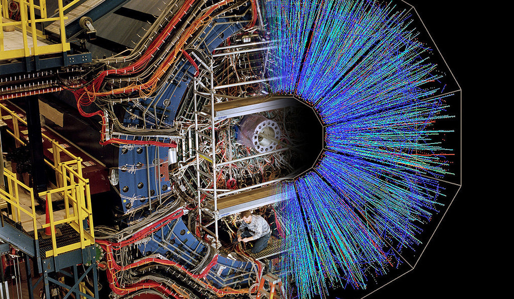 A photo of a device that tracks particles produced by ion collisions.