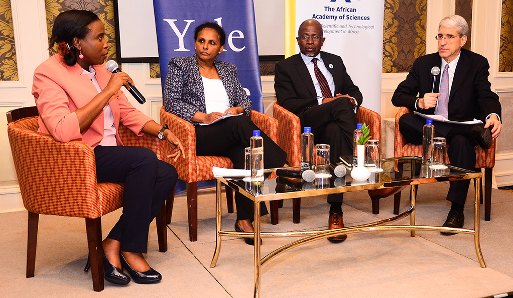 Dr. Catherine Kyobutungi, Segenet Kelemu, Prof. Nelson Torto, and Yale President Peter Salovey during a symposium discussion.