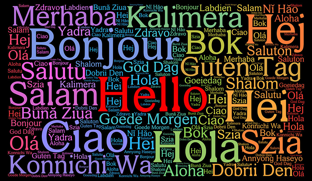 A word cloud of the word Hello written in a variety of different languages.