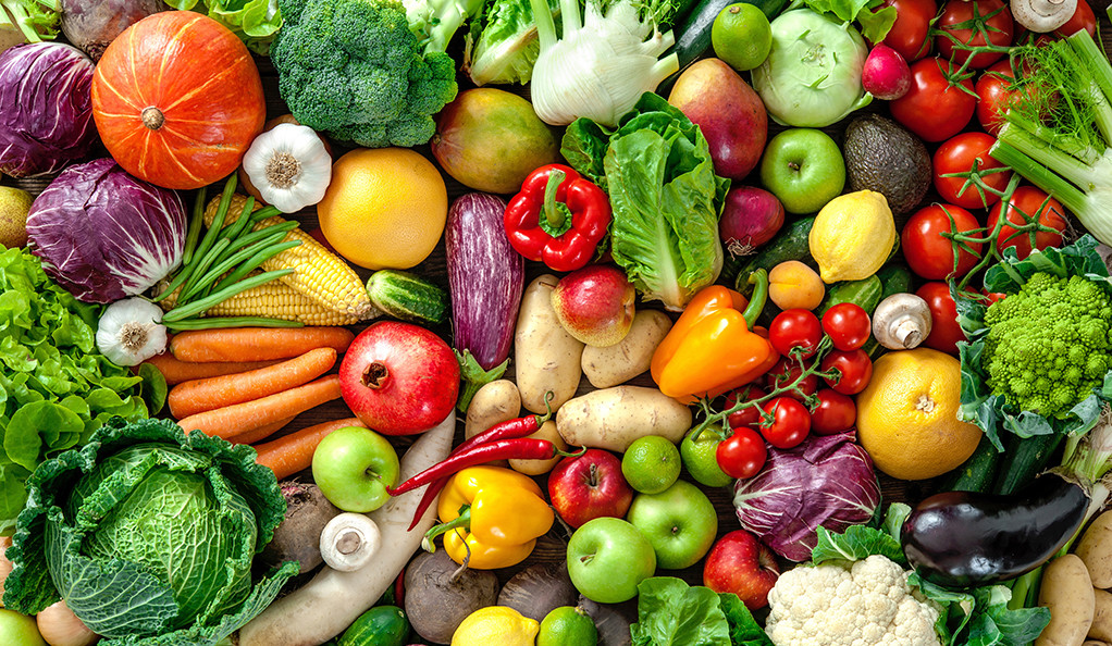 An assortment of fresh fruits and vegetables.