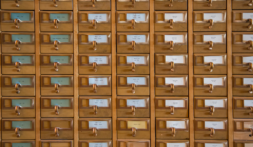 Old Fashioned Wooden Library Card Catalog Drawers