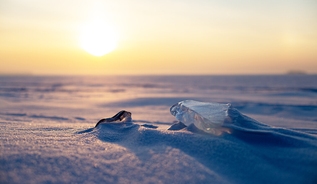 Arctic ice melting in the sun.