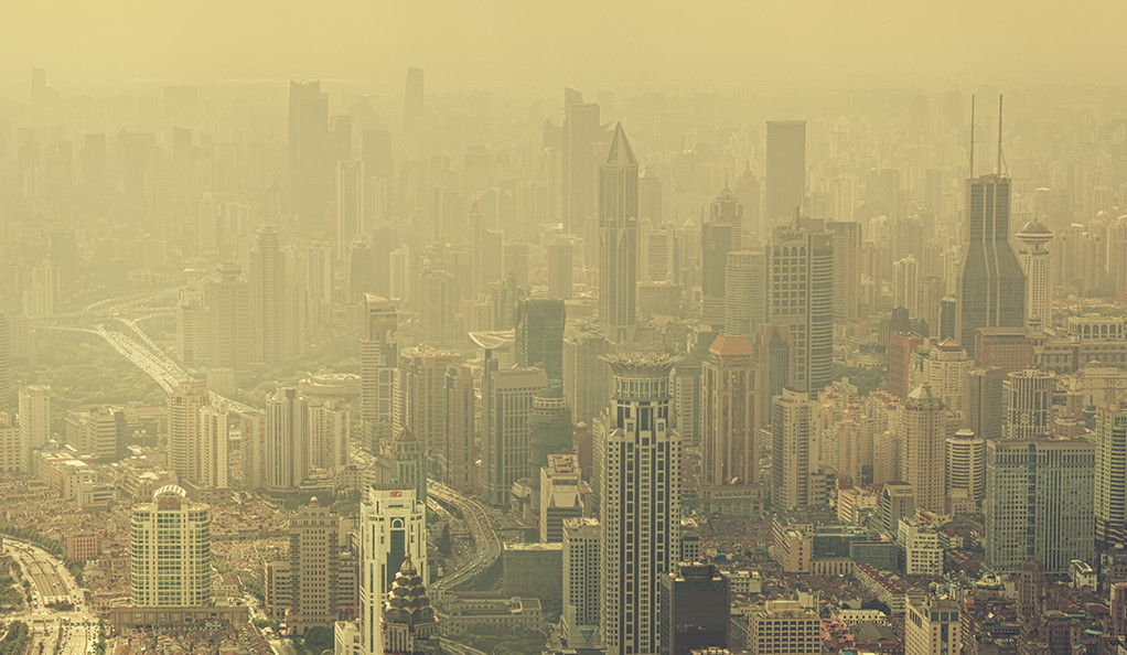 A Chinese city blanketed in smog.
