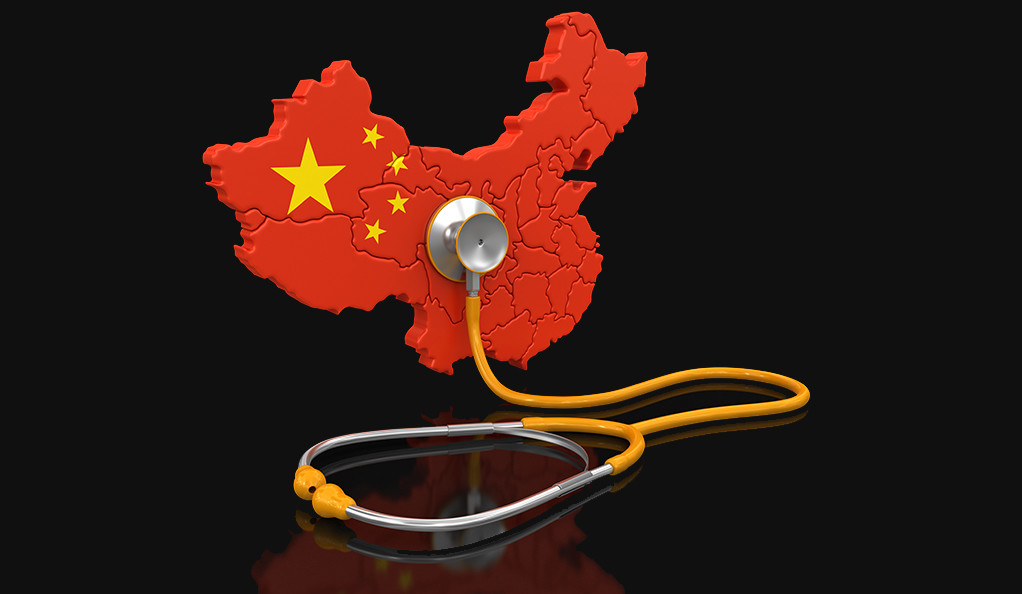 An illustration of China with a stethoscope held up to it.