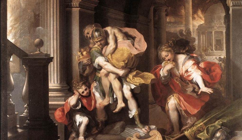 Aeneas Flees Burning Troy, by Federico Barocci (1598).