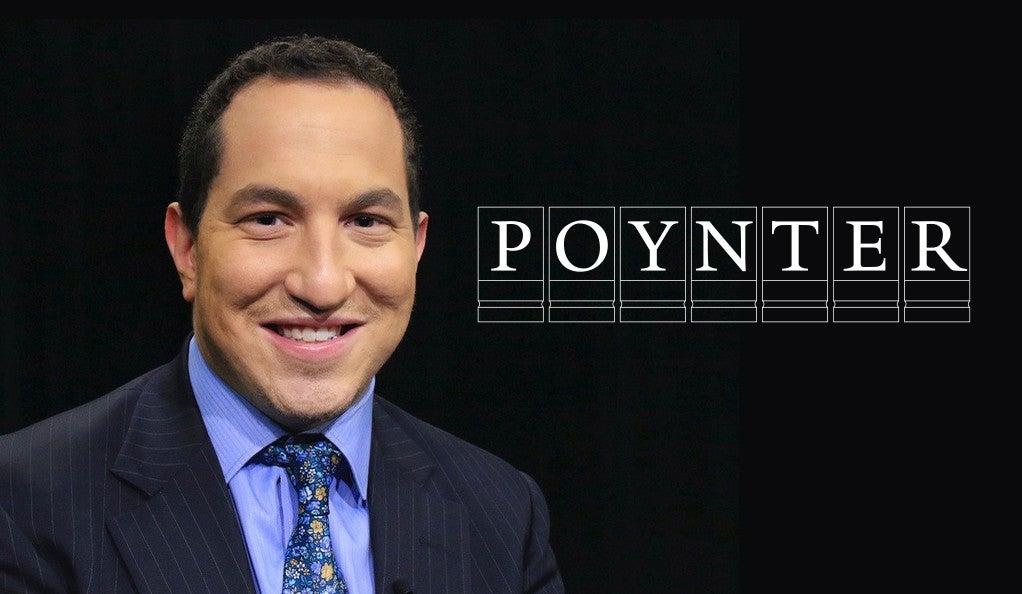 Journalist Alexander Heffner with the Poynter Fellowship logo.