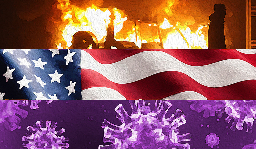 Collage: protest, American flag, and COVID-19 virus