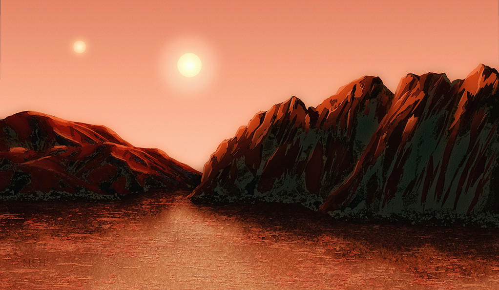 An illustration of an alien landscape with two suns in the sky.