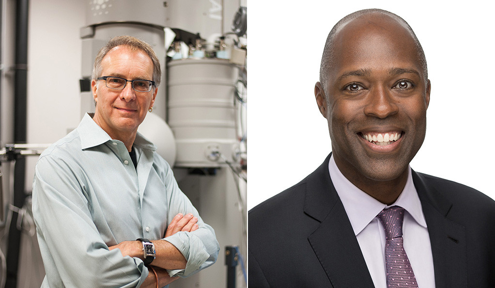 Professional portraits of Yale Alumni Fellow candidates David Agard and Michael Warren