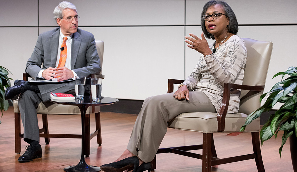 Peter Salovey and Anita Hill.