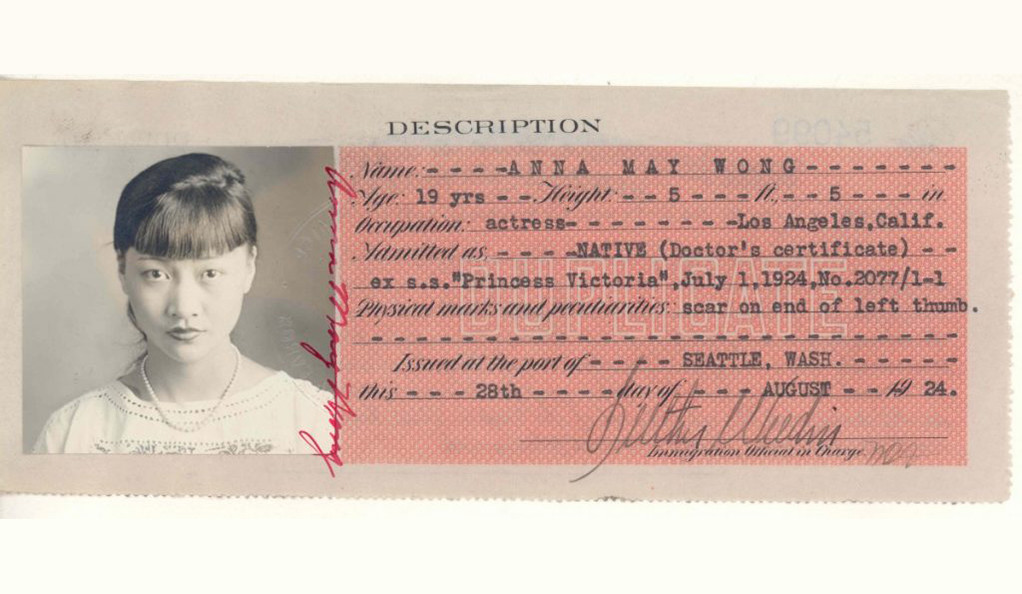 A duplicate copy of the Certificate of Identity issued to actress Anna May Wong in 1924.