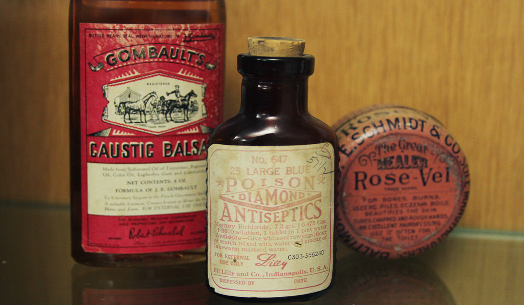 Vintage 19th century apothecary bottles, on display at a Yale exhibit called The Early Modern Pharmacy.