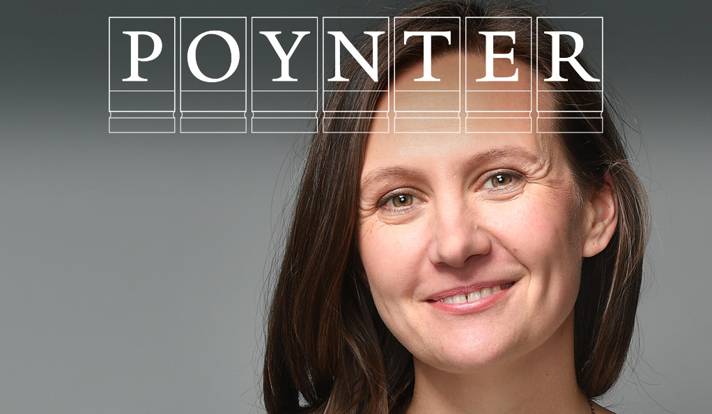 Alison Snyder with the Poynter Fellowship logo