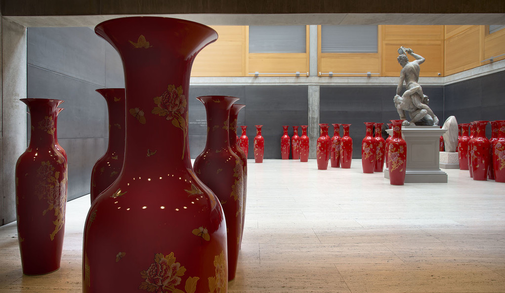 A collection of red vases at the Yale Center for British Art.