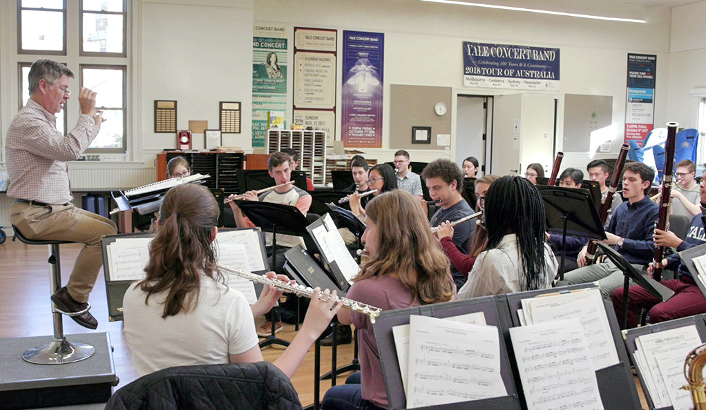 Yale Bands director Prof. Thomas Duffy leads a rehearsal last year.