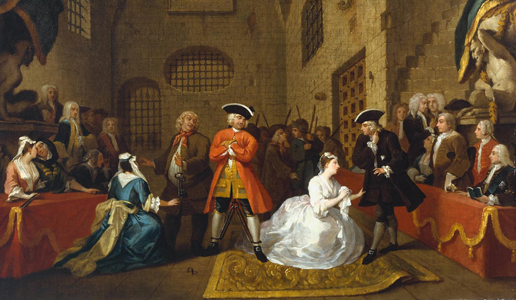 A scene from The Beggar's Opera painted by William Hogarth, circa 1728.