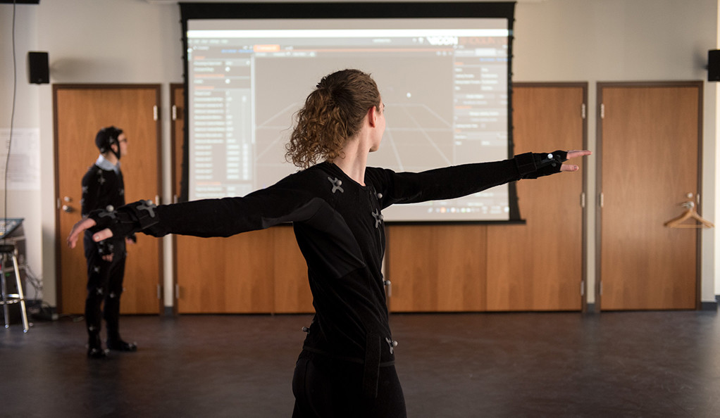 Dance artist Mariel Pettee using a motion capture machine.