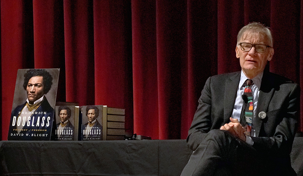 """David Blight at a Dec. 2018 event promoting his book """"Frederick Douglass: Prophet of Freedom"""" at Yale."""