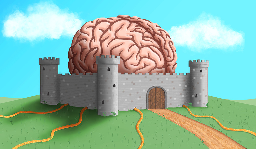 An illustration of a human brain inside of a giant medieval fortress