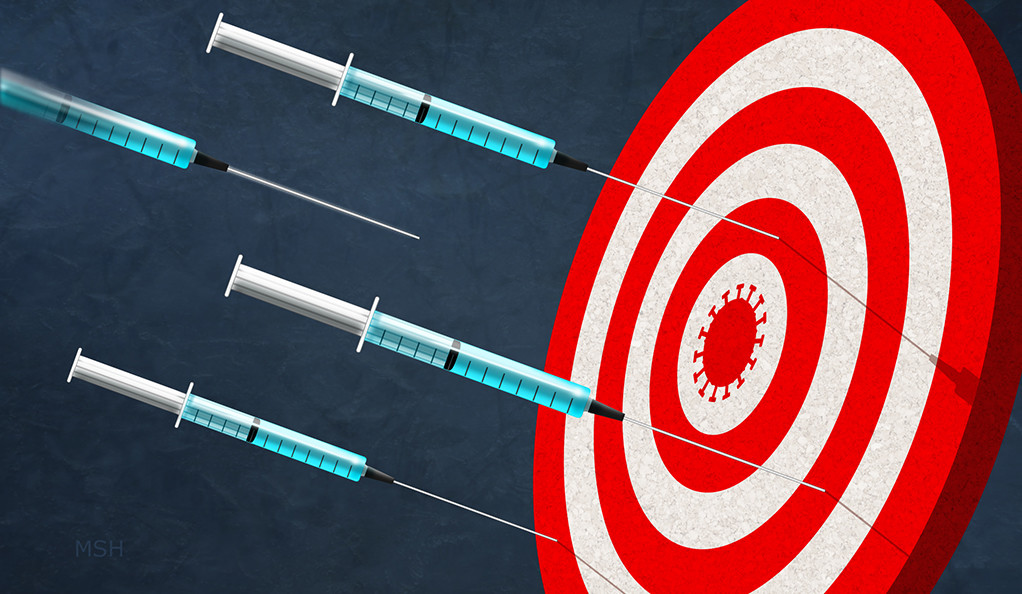 Syringes sticking like darts on a target board, with a coronavirus silhouette as the bullseye
