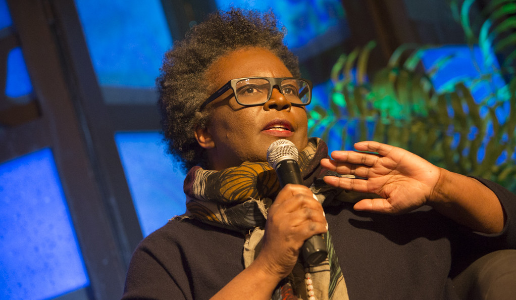 Claudia Rankine speaks at a luncheon at which she was presented the Visionary Leadership Award.
