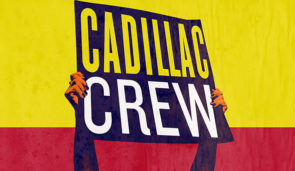 Cadillac Crew poster art — stylized image of a man holding up a sign with the play title written on it
