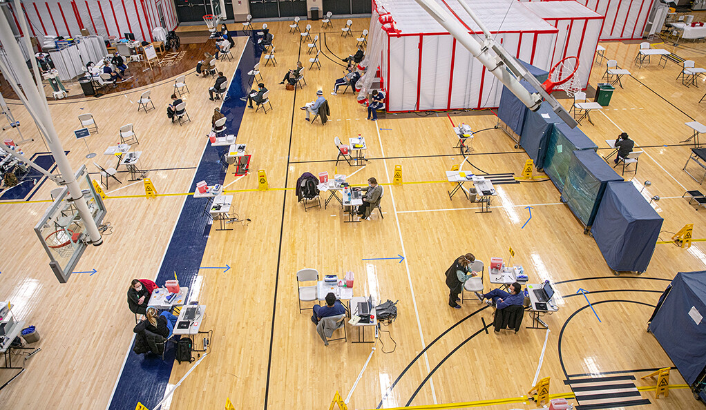 The Lanman Center vaccination clinic in full operation